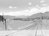 Looking east from D&amp;RGW Chama wye toward yard.<br /> D&amp;RGW  Chama, NM  Taken by Richardson, Robert W. - 7/4/1941