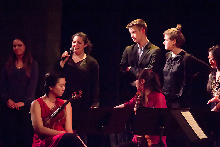 Port Townsend, Centrum, Chamber Music Workshop, June 16-21 2015, Fort Worden, Lucinda Carver and the Enso Quartet with Joshua Roman, the Azalea Quartet, and the Quartet Elektra, answering audience questions Fort Worden, Wheeler Theater, Washington State,