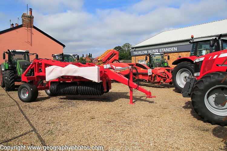 Farm machinery vehicles on sale Thurlow Nunn Standen sales forecourt, Melton, Suffolk, England, UK