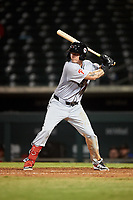 Scottsdale Scorpions Mickey Moniak (10), of the Philadelphia Phillies organization, at bat during an Arizona Fall League game against the Mesa Solar Sox on September 18, 2019 at Sloan Park in Mesa, Arizona. Scottsdale defeated Mesa 5-4. (Zachary Lucy/Four Seam Images)