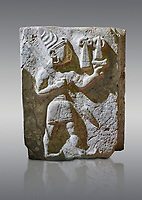 Hittite orthostat relief depicting a god. Hittie Period 1450 - 1200 BC. Hattusa Boğazkale. Hattusa Boğazkale. Çorum Archaeological Museum, Corum, Turkey. Çorum Archaeological Museum, Corum, Turkey