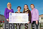 """""""Give It Up"""" Trocaire 2011 Campaign : Presentation make to Janet Twoomey, Regional Development Officer of Trocaire on behalf of the students of Listowel Presentation  Convent who raised EUR1,334.50 in the """"Give It Up"""" campaign oraganised by Trocaire. .L - R : Janet Twoomey, Claire Thornton, Laura Keane & Breda Carmody, Teacher...The 1st year students took part in Trocaire's Give It Up Campaign this year and raised money for our work with some of the world's poorest communities.  Some students fasted, others gave up something that was important to them, such as their mobile phone, facebook or ipod.. .The focus of the campaign this year is our work with slum communities in North Honduras as well as rural communities living on plantations trying to eke out an existence from land, from which they are constantly threatened with eviction and suffer grave human rights abuses.  Irish celebrities such as Graham Canty, Imelda May and Katie Taylor supported the campaign this year. See this link for more information on what they sacrifised. http://www.trocaire.org/giveitup/celebrity-support..We are extremely grateful for the school's loyal support of our lenten work, especially during difficult economic times for us at home. Despite our current challenges, we can still turn on a tap in our homes and have at least one meal a day....basic comforts that 1 billion people in our world are deprived of."""