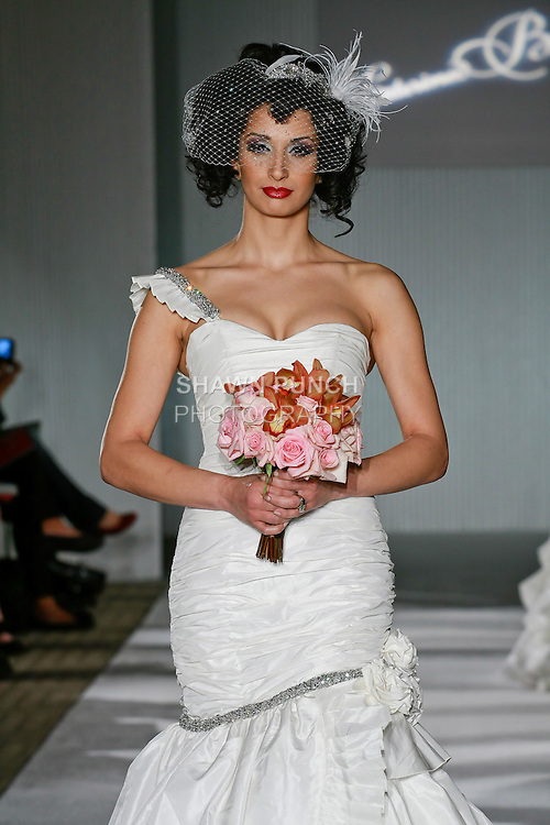 Model walks the runway in a Julianne by Katerina Bocci during the Wedding Trendspot Spring 2011 Press Fashion, October 17, 2010.