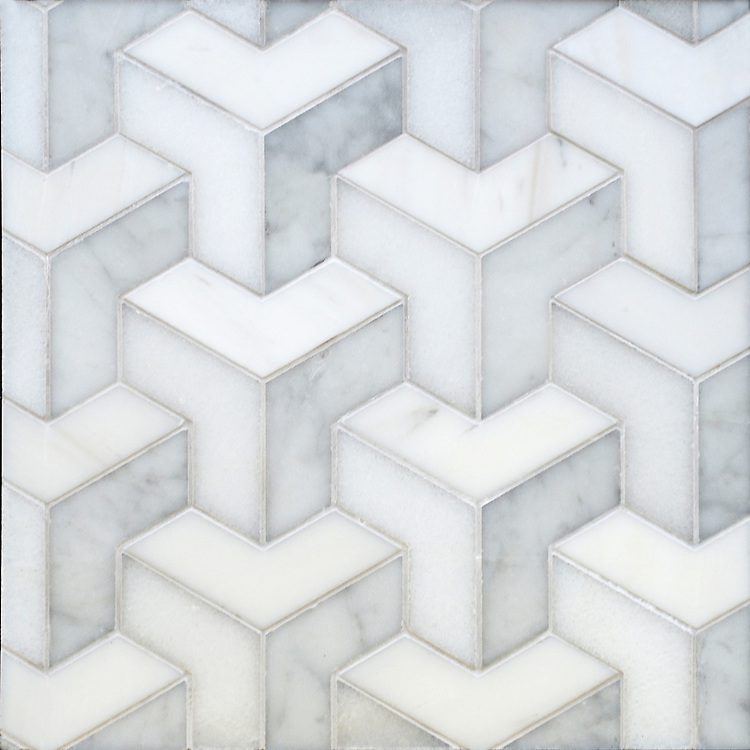 Francois Grand, a waterjet mosaic shown in honed Carrara, Dolomite, and Paperwhite, is part of the Illusions® collection by New Ravenna.
