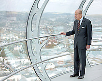28 October 2016 - Brighton, UK - Prince Philip Duke of Edinburgh looks out onto Brighton seafront during his visit to the British Airways i360 attraction in Brighton East Sussex where he took a ride on the world's first vertical cable car. The futuristic-looking structure opened on August 4 and is the world's tallest moving observation tower, standing where the wrecked Grade I-listed West Pier, built in 1866, joined the seafront promenade. Photo Credit: Alpha Press/AdMedia