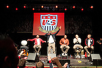 (From left to right) Herculez Gomez, Jozy Altidore, Terrence Boyd, Brad Guzan, and U.S. head coach Jurgen Klinsmann on the stage at the Paramount Theater in Denver, CO during the USA Men's National Team prep rally on March 21, 2013.