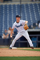 Tampa Tarpons relief pitcher Braden Bristo (5) during a Florida State League game against the Lakeland Flying Tigers on April 7, 2019 at George M. Steinbrenner Field in Tampa, Florida.  Tampa defeated Lakeland 3-2.  (Mike Janes/Four Seam Images)