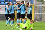 05.08.2019, Carl-Benz-Stadion, Mannheim, GER, 3. Liga, SV Waldhof Mannheim vs. TSV 1860 Muenchen, <br /> <br /> DFL REGULATIONS PROHIBIT ANY USE OF PHOTOGRAPHS AS IMAGE SEQUENCES AND/OR QUASI-VIDEO.<br /> <br /> im Bild: Michael Schultz (SV Waldhof Mannheim #23) jubelt ueber das Tor zum 1:0 mit Benedict dos Santos (SV Waldhof Mannheim #21), Marcel Seegert (SV Waldhof Mannheim #5), Marco Schuster (SV Waldhof Mannheim #6) und Valmir Sulejmani (SV Waldhof Mannheim #9) uind Jan Hendrik Marx (SV Waldhof Mannheim #26), am Boden Hendrik Bonmann (TSV 1860 Muenchen #39)<br /> <br /> Foto © nordphoto / Fabisch