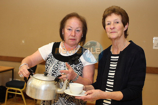 Loretta Mullen and Margaret Dagg at the Lifeboat Coffee Morning and Cake Sale in St.Peters Parish Rooms...(Photo credit should read Jenny Matthews/NEWSFILE)...