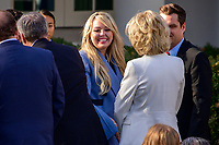 Tiffany Trump greets visitors prior to United States President Donald J. Trump and first lady Melania Trump presenting the National Thanksgiving Turkey in the Rose Garden of the White House in Washington, DC on Tuesday, November 26, 2019.<br /> CAP/MPI/RS<br /> ©RS/MPI/Capital Pictures