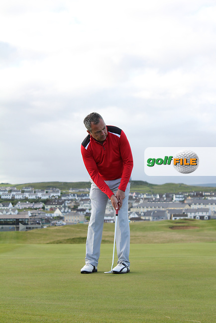 Pat Murray (Limerick) on the 1st green during Matchplay Round 3 of the South of Ireland Amateur Open Championship at LaHinch Golf Club on Saturday 25th July 2015.<br /> Picture:  Golffile | TJ Caffrey