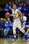 31 December 2014: Duke's Tyus Jones. The Duke University Blue Devils hosted the Wofford College Terriers at Cameron Indoor Stadium in Durham, North Carolina in a 2014-16 NCAA Men's Basketball Division I game.