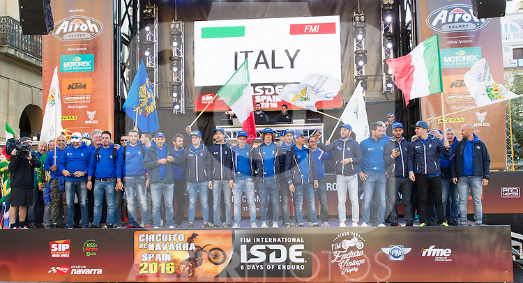 Italy enduro team during the presentation of the FIM international six days of enduro 2016 in Pamplona, Spain. October 09, 2016. (ALTERPHOTOS/Rodrigo Jimenez)