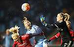 Jane Ross of Manchester City Women challenges Abel Katrine Louise of Brondby IF during the Women's Champions League last 16 tie, first leg between Manchester City Women and Brondby IF at the Academy Stadium. <br /> <br /> Photo credit should read: Lynne Cameron/Sportimage