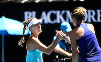 Kristyna Pliskova of The Czech Republic congratulates Angelique Kerber of Germany during Day five of the Australian Open Tennis Championships held in Melbourne Park, Australia on 20th January 2017