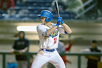 Rancho Cucamonga Quakes  Gavin Lux (14) at bat against the Inland Empire 66ers at LoanMart Field on April 12, 2018 in Rancho Cucamonga, California. The 66ers defeated the Quakes 5-4.  (Donn Parris/Four Seam Images)