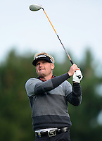 Soren Kjeldsen of Denmark tees off on the 14th green during Round 4 of the 2015 British Masters at the Marquess Course, Woburn, in Bedfordshire, England on 11/10/15.<br /> Picture: Richard Martin-Roberts | Golffile