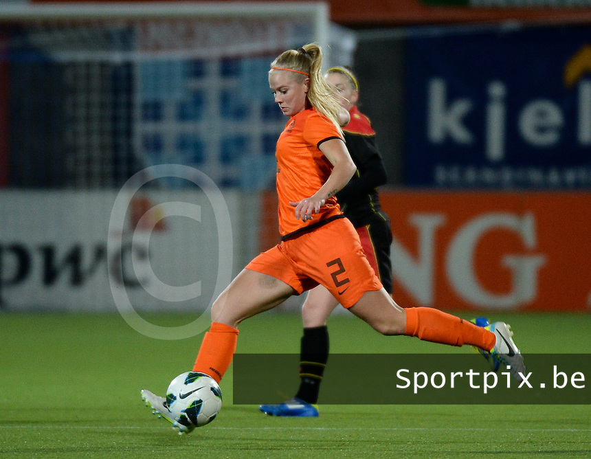 20140212 - ZWOLLE , THE NETHERLANDS : Dutch Kika Van Es pictured during the female soccer match between The Netherlands and Belgium , on the fifth matchday in group 5 of the UEFA qualifying round to the FIFA Women World Cup in Canada 2015 at Het Ijseldelta Stadion , Zwolle . Wednesday 12th February 2014 . PHOTO DAVID CATRY
