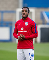 Kaylen Hinds (Vfl Wolfsburg) of England U20 warms up before kick off during the International friendly match between England U20 and Netherlands U20 at New Bucks Head, Telford, England on 31 August 2017. Photo by Andy Rowland.