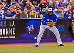 26 March 2018: Toronto Blue Jays third baseman Vladimir Guerrero Jr. warms up prior to the 7th inning of a pre-season exhibition game against the St. Louis Cardinals at Olympic Stadium in Montreal, Quebec, Canada. The Cardinals defeated the Blue Jays 5-3 in the first of two MLB Grapefruit League games, in which Guerrero Jr. made his first appearance since childhood at the former home on the Montreal Expos. Mandatory Credit: Ed Wolfstein Photo *** RAW (NEF) Image File Available ***