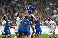 Sebastien Vahaamahina of France claims the ball in the air . Natwest 6 Nations match between France and England on March 10, 2018 at the Stade de France in Paris, France. Photo by: Patrick Khachfe / Onside Images