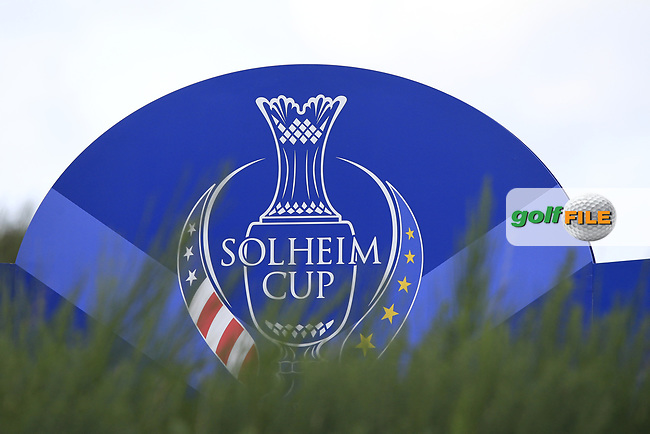 Sign on the 8th tee during Day 1 Fourball at the Solheim Cup 2019, Gleneagles Golf CLub, Auchterarder, Perthshire, Scotland. 13/09/2019.<br /> Picture Thos Caffrey / Golffile.ie<br /> <br /> All photo usage must carry mandatory copyright credit (© Golffile | Thos Caffrey)