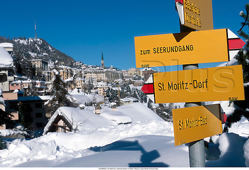 SIGNPOST, ST Moritz, Switzerland, 010202. Photo: Glyn Kirk/Action Plus...venue.wintersports.2001.venues.wintersport.resorts.resort