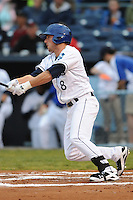 Asheville Tourists Kyle Parker #8 swings at a pitch during a game against  the Lexington Legends at McCormick Field in Asheville,  North Carolina;  April 15, 2011.  Asheville defeated Lexington 2-1.  Photo By Tony Farlow/Four Seam Images