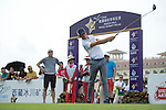 Luis Garcia tees off the 1st hole during the World Celebrity Pro-Am 2016 Mission Hills China Golf Tournament on 21 October 2016, in Haikou, China. Photo by Weixiang Lim / Power Sport Images