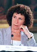 "Actress Rhea Perlman, of the After Schol Alliance, listens to remarks of Ben Casey at the ""White House Conference on Teenagers: Raising Responsible and Resourceful Youth"" in Washington, DC on 2 May, 2000.<br /> Credit: Ron Sachs / CNP"