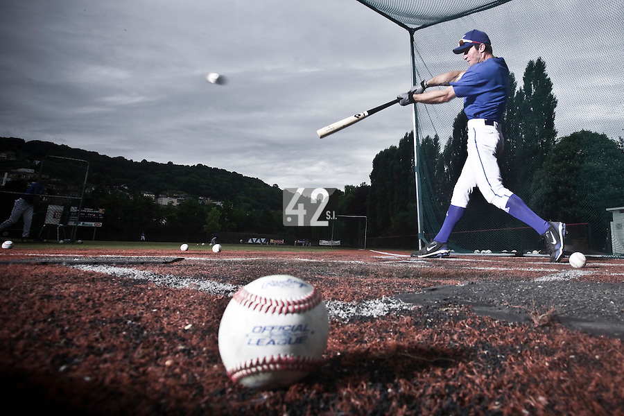 14 July 2010: Joris Bert is seen in the batting cage during day 2 of the Open de Rouen, an international tournament with Team France, Team Saint Martin, Team All Star Elite, at Stade Pierre Rolland, in Rouen, France.