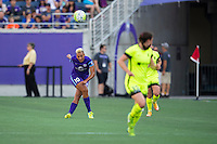Orlando, Florida - Sunday, May 8, 2016: Orlando Pride midfielder Lianne Sanderson (10) watches her pass during a National Women's Soccer League match between Orlando Pride and Seattle Reign FC at Camping World Stadium.