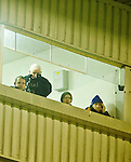 Jody O' Connor in the press box with Davy Fitzgerald, Paul Kinnerk and Mike Deegan from the Clare management team. Photograph by Declan Monaghan