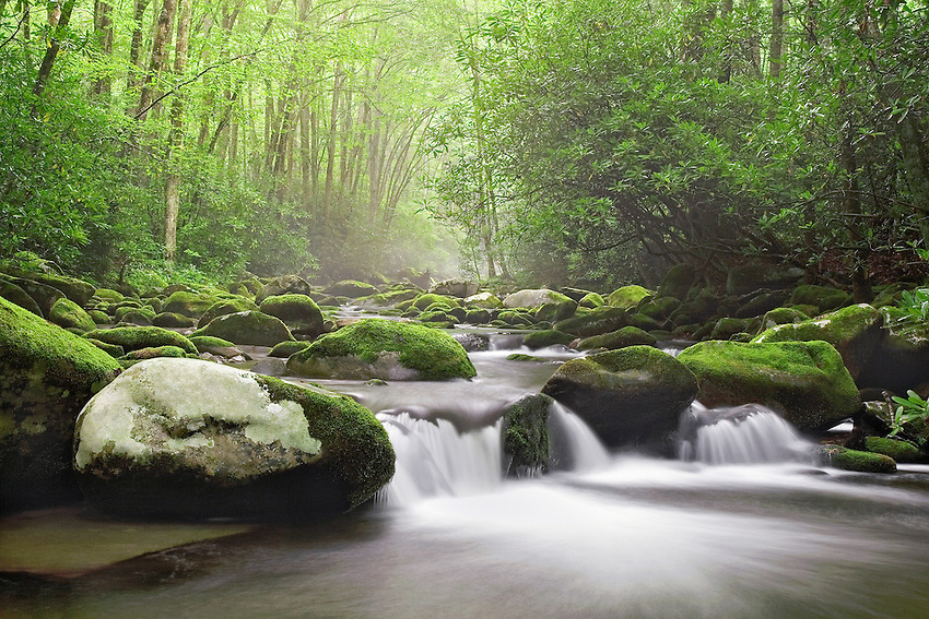 """""""MOUNTAIN CASCADE"""" -- A cascade along the Oconaluftee River in Great Smoky Mountains National Park. The park is located on the border of North Carolina and Tennessee in the southern Appalachian mountains."""