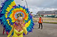 CT- Carnival Parade with HAL Koningsdam at Pier in Background - S. Caribbean Cruise, Oranjesta Aruba