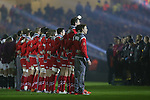 The Wales team line up for the anthems.<br /> 2015 RBS 6 Nations<br /> Wales v England<br /> Millennium Stadium <br /> 06.02.15<br /> ©Steve Pope -SPORTINGWALES