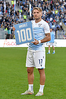 Ciro Immobile of Lazio receive a prize for 100 goals on Lazio <br /> Roma 10-11-2019 Stadio Olimpico <br /> Football Serie A 2019/2020 <br /> SS Lazio - Lecce<br /> Foto Antonietta Baldassarre / Insidefoto