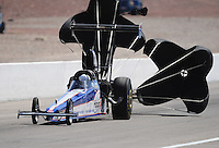 Mar. 31, 2012; Las Vegas, NV, USA: NHRA top alcohol dragster driver Garrett Bateman during qualifying for the Summitracing.com Nationals at The Strip in Las Vegas. Mandatory Credit: Mark J. Rebilas-
