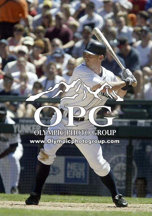 17 July 2005: Seattle Mariners center fielder Jeremy Reed  hit a line drive to right to score Raul Ibanez in the 7th inning against the Baltimore Orioles at Safeco field in Seattle, Wa.
