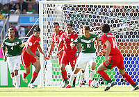 Guillermo Franco of Mexico gets the ball away from his own goal. Mexico defeated Iran 3-1 during a World Cup Group D match at Franken-Stadion, Nuremberg, Germany on Sunday June 11, 2006.