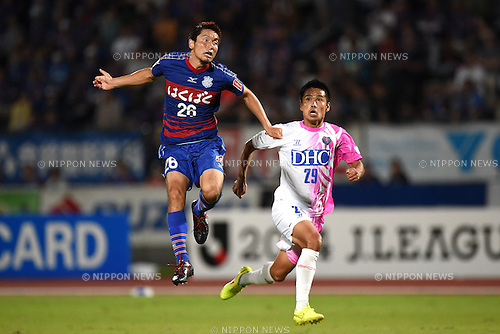 Naoaki Aoyama (Ventforet), Hiroyuki Taniguchi (Sagan),<br /> SEPTEMBER 13, 2014 - Football / Soccer :<br /> 2014 J.League Division 1 match between Ventforet Kofu 1-0 Sagan Tosu at Yamanashi Chuo Bank Stadium in Yamanashi, Japan. (Photo by AFLO)