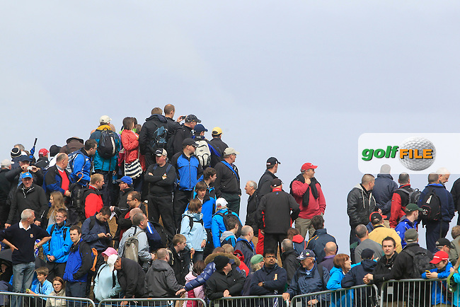 Crowds watch Graeme McDowell (NIR) on the 2nd during round 4 of the Irish Open at Royal Portrush GC,Portrush,County Antrim,Ireland. 1/7/12.Picture Fran Caffrey www.golffile.ie