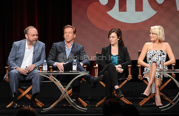 BEVERLY HILLS, CA - AUGUST 11: Paul Giamatti, Damian Lewis, Maggie Siff, and Malin Akerman onstage at the 'Billions' panel during the 2015 Showtime Summer TCA tour at the Beverly Hilton Hotel on August 11, 2015 in Beverly Hills, California. Credit: PGFM/MediaPunch