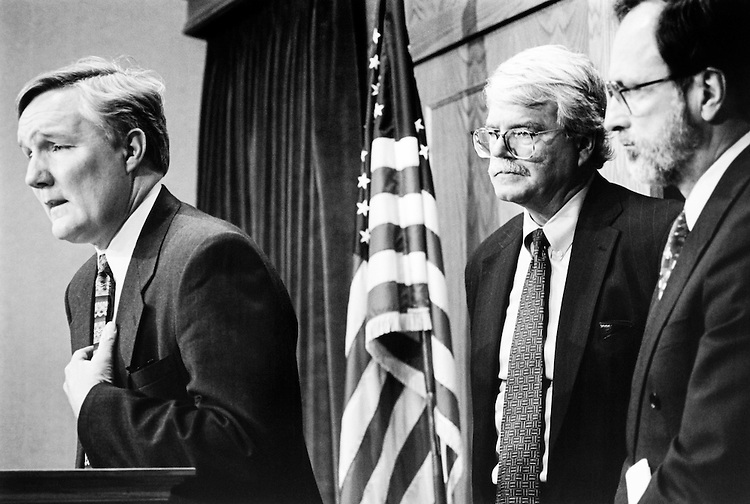 Rep. John Wiley Bryant, D-Tex., Rep. George Miller, D-Calif. and Rep. David E. Bonior, D-Mich. at Thursday press conference on special interest lobbying reform. March 6, 1995. (Photo by Maureen Keating/CQ Roll Call)