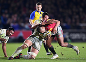 3rd December 2017, Twickenham Stoop, London, England; Aviva Premiership rugby, Harlequins versus Saracens; Mike Brown of Harlequins takes the ball into contact