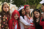 Israel, Schoolgirls celebrating Purim in Herzliya
