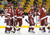 Pier-Olivier Michaud (Harvard - 39), Ryan Grimshaw (Harvard - 6), Danny Biega (Harvard - 9), Luke Greiner (Harvard - 24), Colin Moore (Harvard - 12) - The Harvard University Crimson defeated the Boston University Terriers 5-4 in the 2011 Beanpot consolation game on Monday, February 14, 2011, at TD Garden in Boston, Massachusetts.