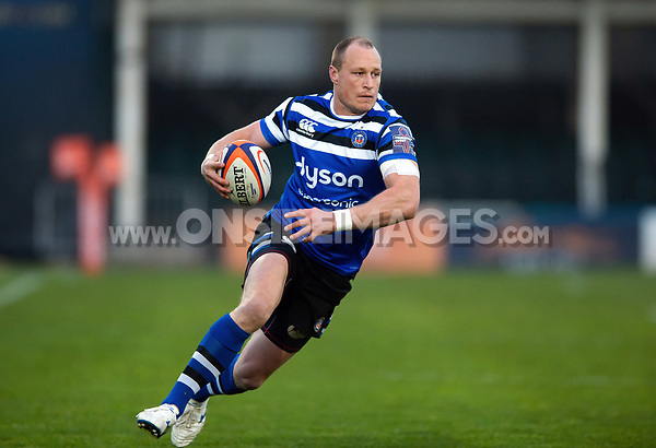 Jack Wilson of Bath United goes on the attack. Premiership Rugby Shield match, between Bath United and Gloucester United on April 8, 2019 at the Recreation Ground in Bath, England. Photo by: Patrick Khachfe / Onside Images