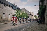 peloton over some village cobbles<br /> <br /> 59th Grand Prix de Wallonie 2018 <br /> 1 Day Race from Blegny to Citadelle de Namur (BEL / 206km)