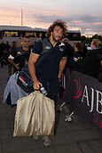 29th September 2017, AJ Bell Stadium, Salford, England; Aviva Premiership Rugby, Sale Sharks versus Gloucester; Sale Sharks' Andrei Ostrikov carrying his suit walks into the stadium